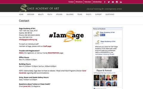 Screenshot of Contact Page gageacademy.org - Gage Academy of Art, Seattle – Classical Training for Contemporary Artists   –  Contact - captured Oct. 1, 2014