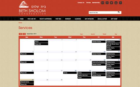 Screenshot of Services Page bethsholomcongregation.org - Services | Beth Sholom Congregation - captured Sept. 30, 2014