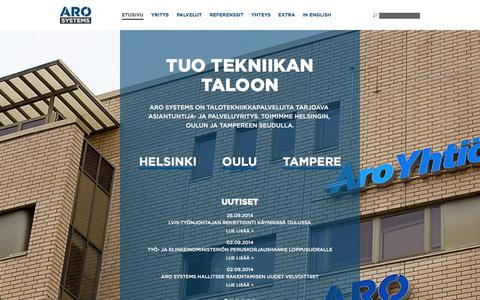 Screenshot of Home Page arosystems.fi - Tuo tekniikan taloon | Aro Systems - captured Oct. 4, 2014