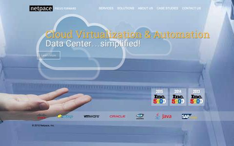 Screenshot of Home Page netpace.com - Cloud Computing, Consulting, Mobile Applications - Netpace Inc. - captured Jan. 6, 2016