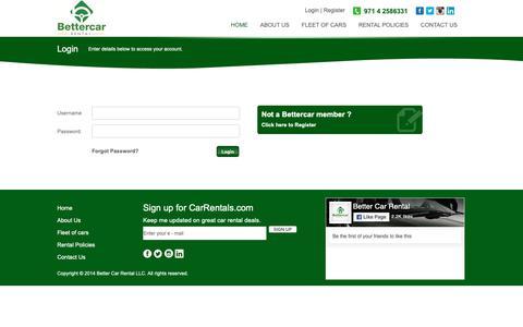 Screenshot of Login Page bettercardubai.com - Better Car Rental LLC - captured Oct. 5, 2018