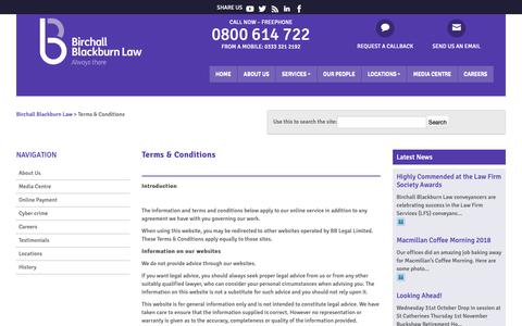 Screenshot of Terms Page birchallblackburn.co.uk - Terms and conditions | Birchall Blackburn Law - captured Oct. 5, 2018