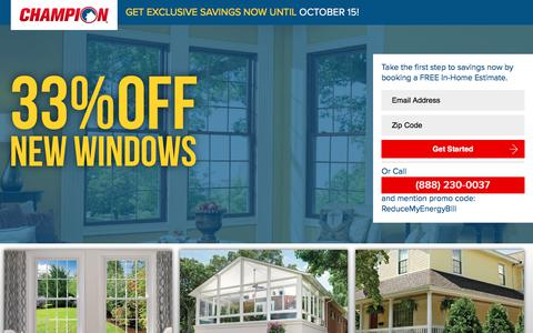 Screenshot of Landing Page championwindow.com - GET EXCLUSIVE SPRING SAVINGS NOW UNTIL APRIL 15! - captured Sept. 13, 2017