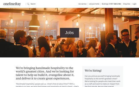 Screenshot of Jobs Page onefinestay.com - Jobs | onefinestay - captured Jan. 12, 2017