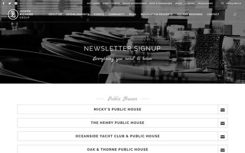 Screenshot of Press Page jrg.ca - Newsletter Signup - Joseph Richard Group - captured Oct. 14, 2018