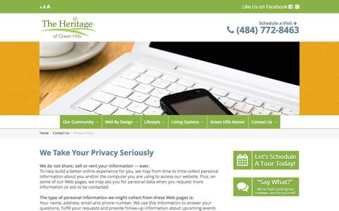 Screenshot of Privacy Page heritageofgreenhills.com - Privacy Policy | Heritage of Green Hills Senior Living - captured Feb. 25, 2016