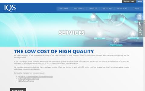 Screenshot of Services Page iqs.com - Quality Management Software Services | IQS - captured Nov. 19, 2016