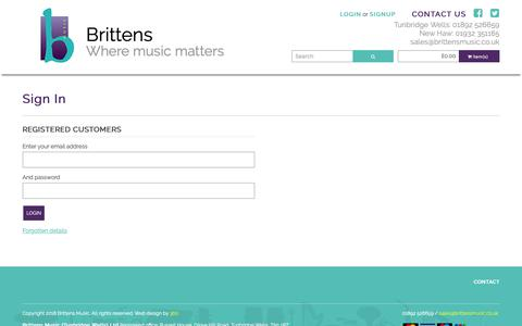 Screenshot of Login Page brittensmusic.co.uk - Brittens Music - captured Nov. 6, 2018