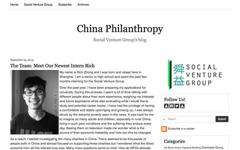Screenshot of Blog socialventuregroup.com - China Philanthropy - captured Oct. 9, 2014