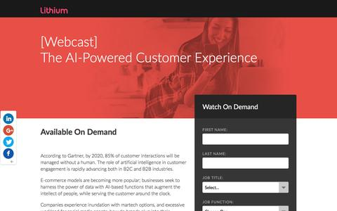 Screenshot of Landing Page lithium.com - [Webcast] The AI Powered Customer Experience - captured April 19, 2017