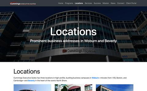 Screenshot of Locations Page cummingsexecutivesuites.com - Commercial Offices for Lease in Woburn & Beverly MA | Cummings Executive Suites - captured Oct. 19, 2018