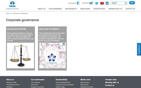 Screenshot of tata.com - Corporate governance - Tata group - captured Aug. 22, 2017