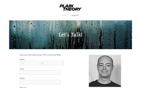 Screenshot of Contact Page plaintheory.com - Plain Theory | Contact - Plain Theory - captured Jan. 17, 2018