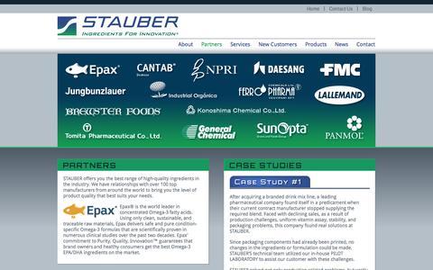 Screenshot of Case Studies Page stauberusa.com - Partners - captured Oct. 3, 2014