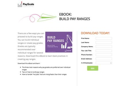 Screenshot of Landing Page payscale.com - Build Pay Ranges - captured March 24, 2017