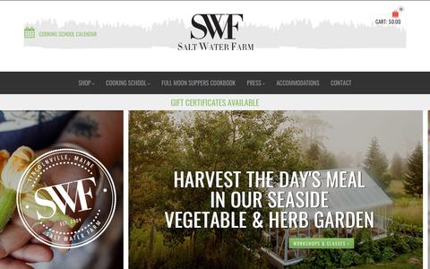 Screenshot of Home Page saltwaterfarm.com - SALT WATER FARM COOKING SCHOOL (Lincolnville, ME) - captured July 27, 2018