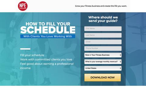 Screenshot of Landing Page npecoaching.com - NPE Fill Your Schedule - captured May 6, 2018