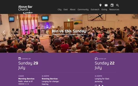 Screenshot of Home Page abovebarchurch.org.uk - Above Bar Church, Southampton - Loving God   Following Jesus   Sharing Hope - captured July 28, 2018
