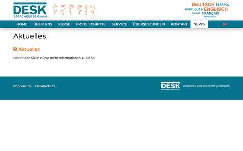 Screenshot of Press Page desk-sprachkurse.de - Aktuelles - DESK Sprachkurse - captured Oct. 8, 2018