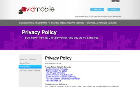 Screenshot of Privacy Page avidmobile.com - AvidMobile | Mobile Marketing Privacy Policy - captured Sept. 23, 2014