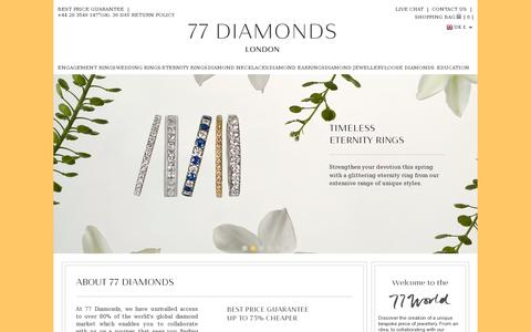 Screenshot of Home Page 77diamonds.com - 77 Diamonds - Beautiful Diamond Rings & Jewellery - captured July 11, 2014