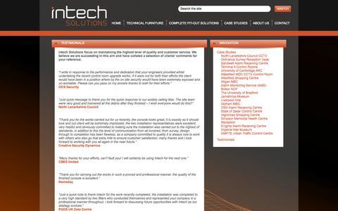 Screenshot of Testimonials Page intechsolutions.uk.com - Testimonials | Intech Solutions - captured Oct. 6, 2014