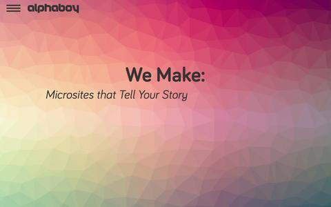 Screenshot of Home Page alphaboy.com - ⇡ alphaboy.com - Web Development, Application Makers, Brand Creators - captured Oct. 4, 2014