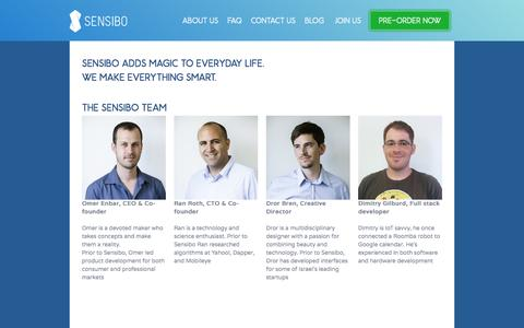 Screenshot of About Page sensibo.com - sensibo - About us - captured Oct. 28, 2014