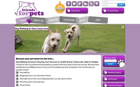 Screenshot of Home Page Press Page friendsforpets.co.uk - Dog Walking Company providing a range of pet sitting services - captured Sept. 30, 2014