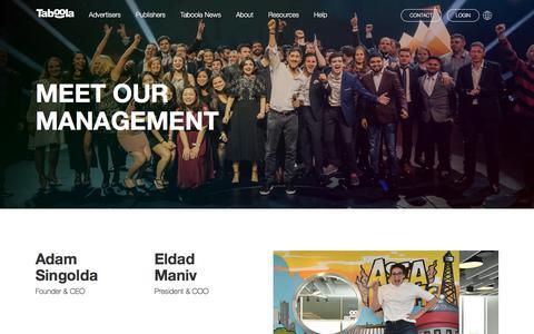 Screenshot of Team Page taboola.com - Meet the Management Team | Taboola.com - captured Sept. 8, 2019