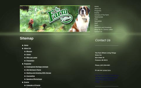 Screenshot of Site Map Page livingfarm.org - The Farm Where Living Things - Home - captured Oct. 2, 2014