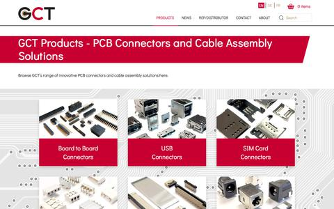 Screenshot of Products Page gct.co - PCB Connectors and Cable Assemblies | GCT - captured Nov. 10, 2018