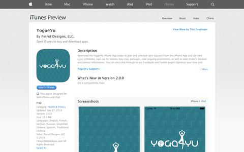 Screenshot of iOS App Page apple.com - Yoga4Yu on the App Store on iTunes - captured Oct. 27, 2014