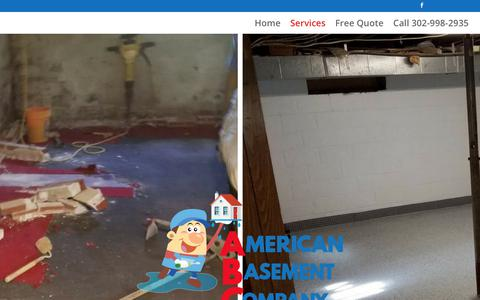Screenshot of Services Page americanbasement.com - Basement Waterproofing and Repair Services - American Basement Company - captured July 3, 2018