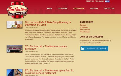 Screenshot of Press Page timhortonsstl.com - Press Room | Tim Hortons St. Louis - captured Jan. 12, 2016