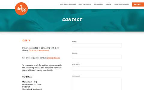 Screenshot of Contact Page deliv.co - Contact - Deliv - captured July 12, 2018