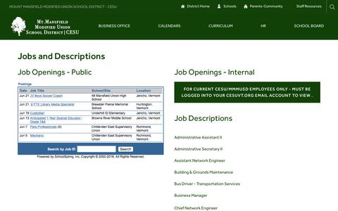 Screenshot of Jobs Page cesuvt.org - Jobs and Descriptions - Chittenden East Supervisory Union - captured July 2, 2018