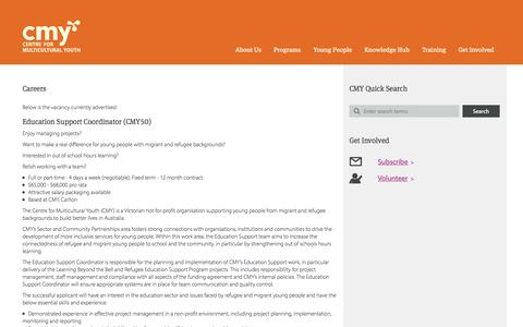 Screenshot of Jobs Page cmy.net.au - Careers | Centre For Multicultural Youth - captured Oct. 2, 2014