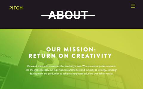 Screenshot of About Page thepitchagency.com - Pitch Agency   ABOUT - captured Dec. 14, 2018