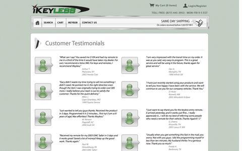 Screenshot of Testimonials Page ikeyless.com - Customer Testimonials | iKeyless - captured Sept. 23, 2014