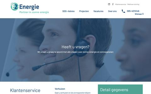 Screenshot of Contact Page e2energie.nl - Klantenservice - E2-Energie partner in zonne-energie - captured Oct. 21, 2018