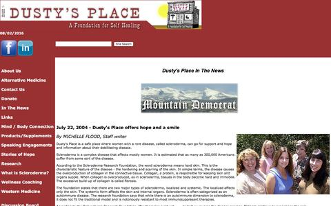 Screenshot of Press Page dustysplace.org - In The News - captured Aug. 2, 2016