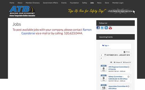 Screenshot of Jobs Page movingoureconomy.org - Jobs - Arizona Transportation Builders Association - captured Oct. 6, 2014