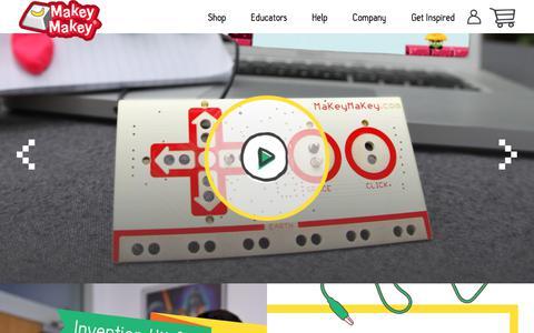 Screenshot of Home Page makeymakey.com - Makey Makey – Makey Shop - captured July 27, 2018