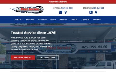 Screenshot of Home Page fleetserviceauto.com - Fleet Service Auto & Truck - Trusted Service in Everett Since 1976! - captured June 16, 2019