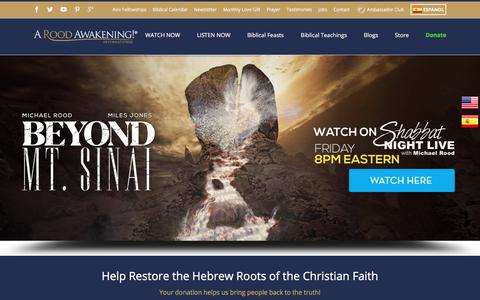 Screenshot of Home Page aroodawakening.tv - The Worlds Leading Messianic Ministry | Hebrew Roots - captured July 18, 2018