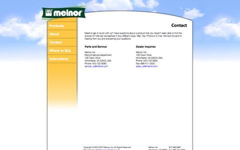 Screenshot of Contact Page melnor.com - Contact - captured Oct. 27, 2014