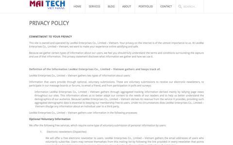 Screenshot of Privacy Page maitechvietnam.com - MaiTech Vietnam – E-commerce Solutions  » Privacy Policy - captured Sept. 30, 2014