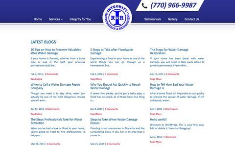 Screenshot of Blog integrityrest.com - Blog - Integrity Restoration - captured Feb. 11, 2016