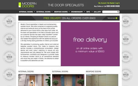 Screenshot of Home Page modern-doors.co.uk - Modern wooden doors - internal, external, bespoke - captured Oct. 7, 2014